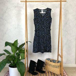 Vintage 90s Black Blue Floral Button Up Romper
